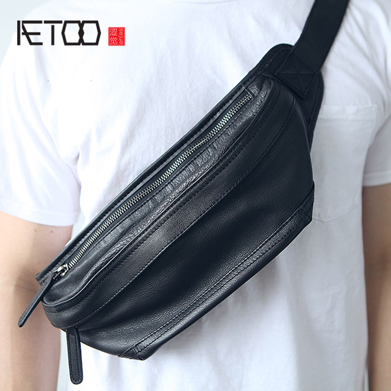 AETOO Mens leather oblique cross Baotou layer soft cowhide casual Japanese chest bag