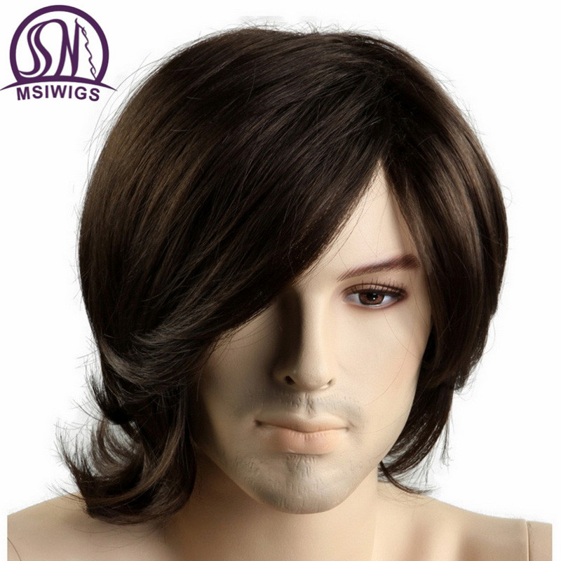 MSIWIGS Short Synthetic Men Wigs Heat Resistant Fiber Brown Color Straight Male Wig with Free Hairnetwig heat resistantwig withewig men -