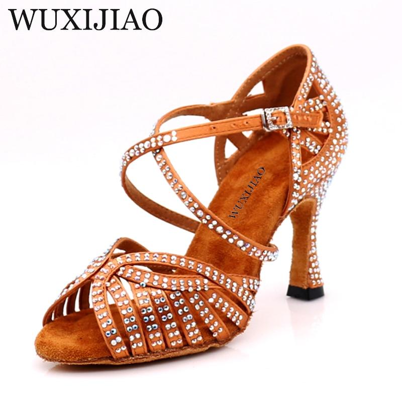 WUXIJIAO Dance Jazz Shoes Latin Dance Shoes For Women Salsa Latin Shoes Girls Ballroom Latin Shoes Black Bronze Skin Curban Heel