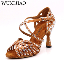WUXIJIAO buty do tańca jazzowego buty do tańca latynoskiego dla kobiet buty do tańca Salsa buty w stylu latynoskim dziewczyny buty w stylu latynoskim czarne brązowe skóry Curban Heel