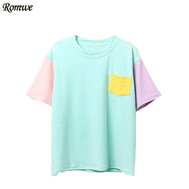 ROMWE Casual Korean Style Summer Women Shirts New Arrival Tops Color Block Short Sleeve Crew Neck With Pocket T-shirt