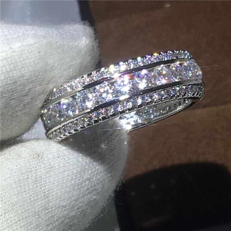 2018 Nuove Donne di Modo di Figura Rotonda AAAAA zircone Oro Bianco Riempito di Fidanzamento fascia di cerimonia nuziale anello per monili delle donne di Formato 5 -10 regalo