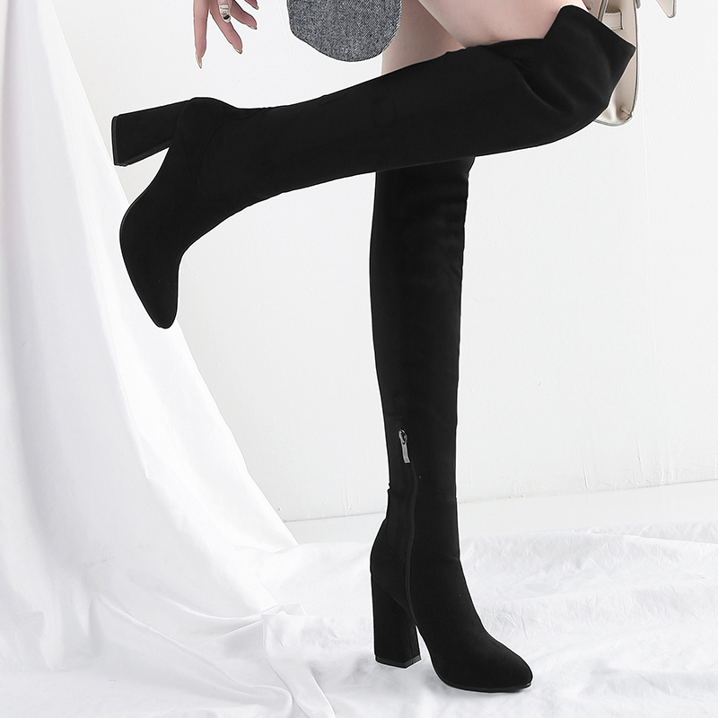 Rouge Hiver Bottes Élastique Sexy Épais Vin Longues Chaussures Noir Femmes Femme Gris Douce Grande De Taille vin Automne Avec Marque Nouveau Noir gris vnmN08wO