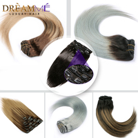 Ombre Clip In Human Hair Extensions Full Head Natural Hair Clip Ins Remy Blonde Black Brown Highlight Machine Made Straight 120G