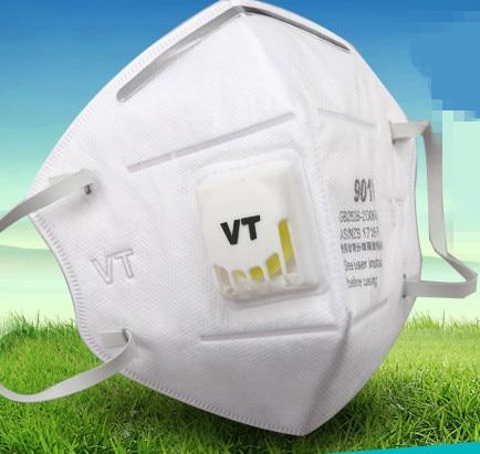 5бр Нови сгъваеми респираторни маски с дихателен клапан Анти-прах / мъгла / мъгла / ауспух-маски PM2.5