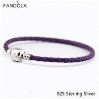 Lederen Armbanden Sieraden Paars Ketting Authentieke 925 Sterling Zilveren Sluiting Clip Geschikt Voor Europese Kralen En Bedels CKK