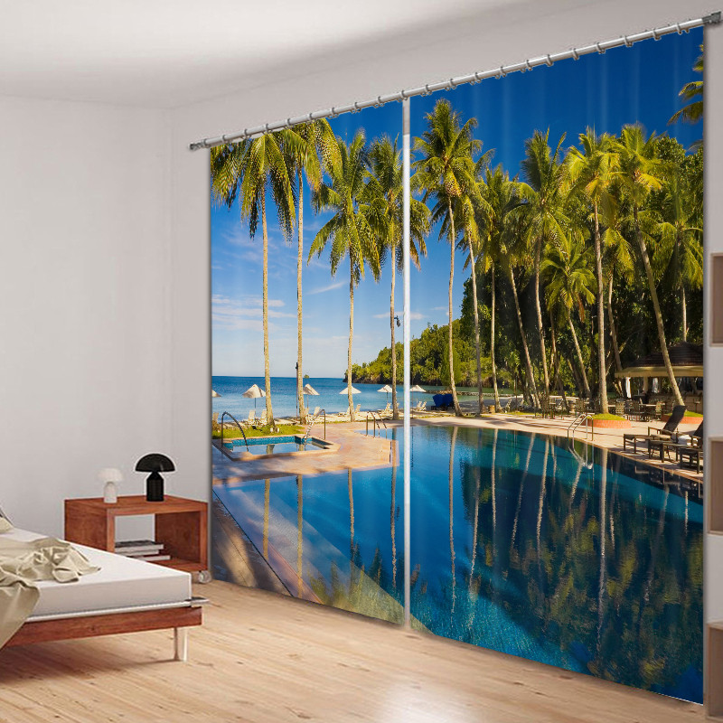 Seaside Scenery Swimming Pool 3D Painting Blackout Curtains Office Bedding Room Living Room Sunshade Window Curtain Bedding setSeaside Scenery Swimming Pool 3D Painting Blackout Curtains Office Bedding Room Living Room Sunshade Window Curtain Bedding set