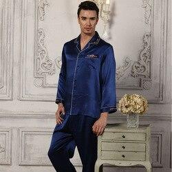 Mannen 100% Zijde Pyjama Lange Mouwen Pyjama Mannen Nachtkleding Sets Broek 100% Zijden Pyjama Set Loungewear Kleding Nachtkleding