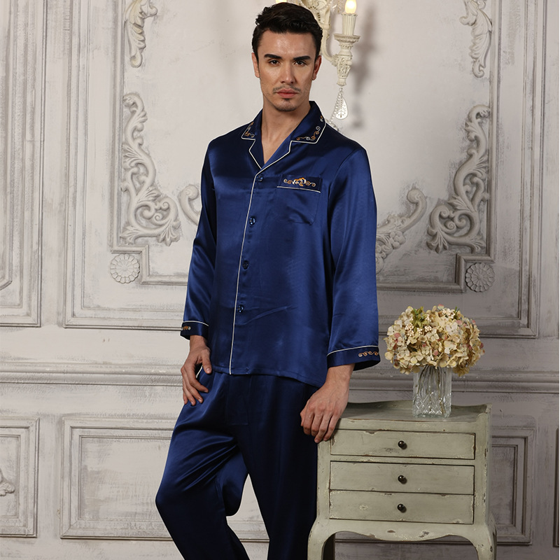 Men's 100% Silk Pajama Long-Sleeve Pyjamas Men Sleepwear Sets Pants 100% Silk Pajamas Set Loungewear Clothes Nightwear