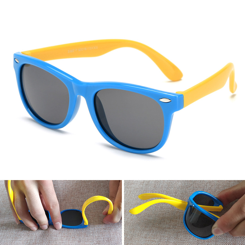 2019 NewTR90 Silicone Childrens Polarizing Sunglasses Square Boys and GirlsGlasses UV400 Brand Design Soft Safety Sunglasses.