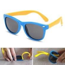 2019 NewTR90 Silicone Childrens Polarizing Sunglasses Square Boys and GirlsGlasses UV400 Brand Design Soft Safety Sunglasses.