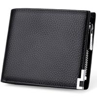 WilliamPOLO 2019 Wallets Men Short Bifold Cards Holders Slots Genuine Saffiano Leather Vertical Horizontal Purse Portable Black