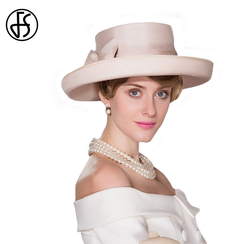 FS Wide Brim Elegant Church Hats For Women Summer 2018 Fashionable With Bowknot Kentucky Derby Hats Fascinator