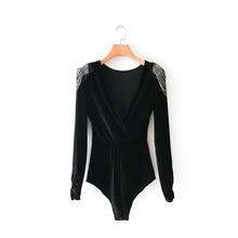 Women sexy cross v neck velvet bodysuit shirt women shoulder beading chic siames