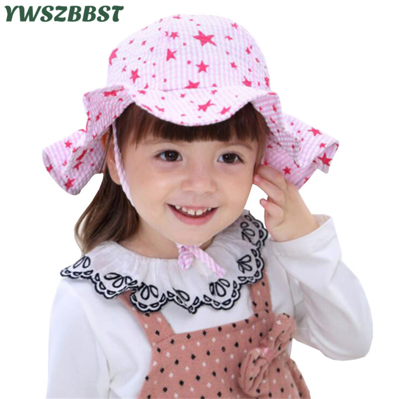 New Fashion Summer Baby Hat Sun Hat Star Print Girls Hats Autumn Kids Boys Beach Bucket Cap Children Sunscreen Fisherman Cap