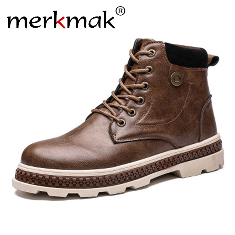 Merkmak Newest Classic Casual Men Boots Autumn Winter Shoes with Fur Comfortable Lace-up Ankle Boots Thick Bottom Boots Men mulinsen newest 2017 autumn winter men