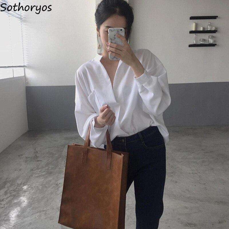 Рубашка женская, с длинным рукавом и карманами, однотонная, с треугольным вырезом, в Корейском стиле, простая, свободная, элегантная, универсальная, для отдыха, Ультрамодная рубашка|Блузки и рубашки|   | АлиЭкспресс