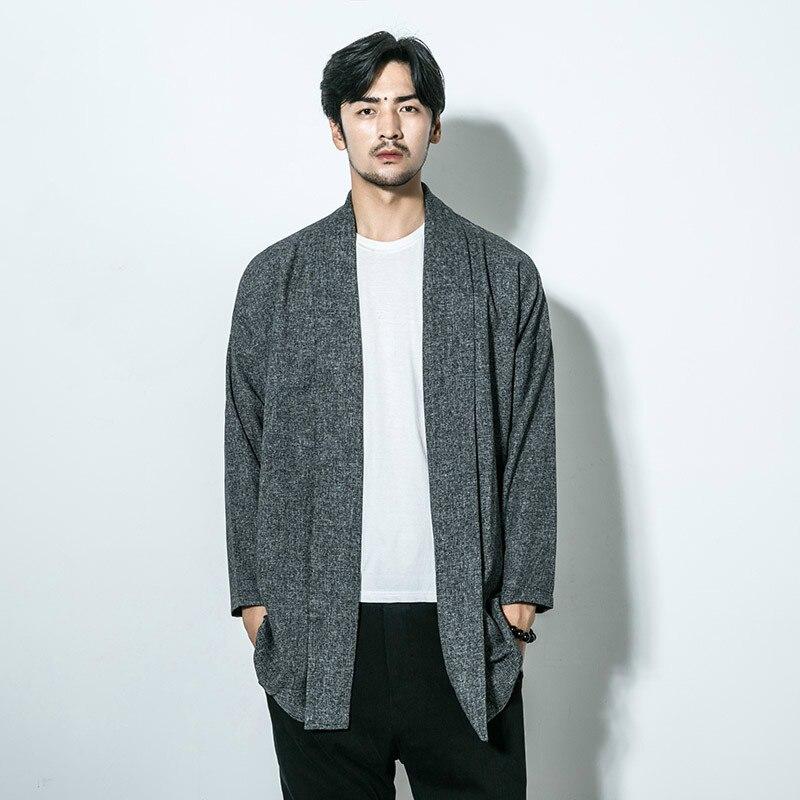 Men Linen Coat Male Kimono Outerwear Jacket Fashion Casual Loose ...