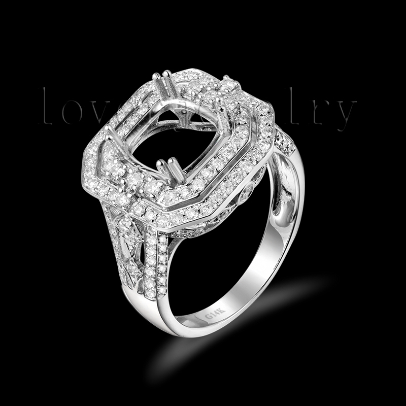 Cushion 8x8mm Full Cut Diamond Semi Mount Ring,Wedding Engagement Ring Setting For Sale WU296