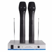 Wireless Microphone Professional System Handheld Style Karaoke Microphone Long Range Dual Channel Mic Transmitter