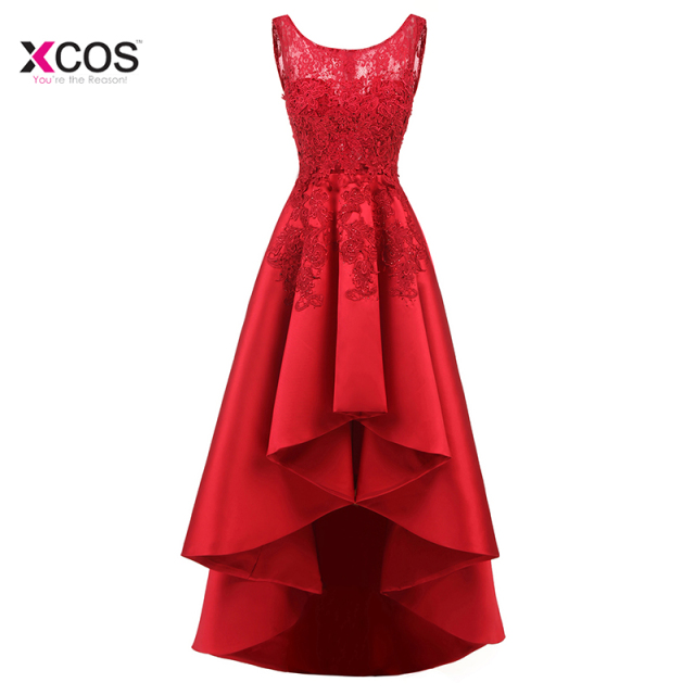Elegant 2018 Scoop Neck Sleeveless Red Lace High Low Prom Dresses Satin A Line Formal Party