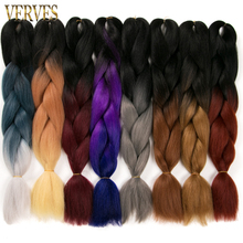 """one piece Ombre Braiding Hair braid 24"""" 100g/piece Synthetic Two Tone High Temperature Fiber Hair Extensions VERVES bulk"""
