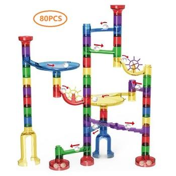 80 sztuk marmur Race Run klocki labirynt piłki utwór budowa zabawki edukacyjne dla dzieci prezent Run labirynt piłki bloki zestaw tanie i dobre opinie 5-7 lat 2-4 lat Z tworzywa sztucznego No eat Sport HF00080 Haifeng