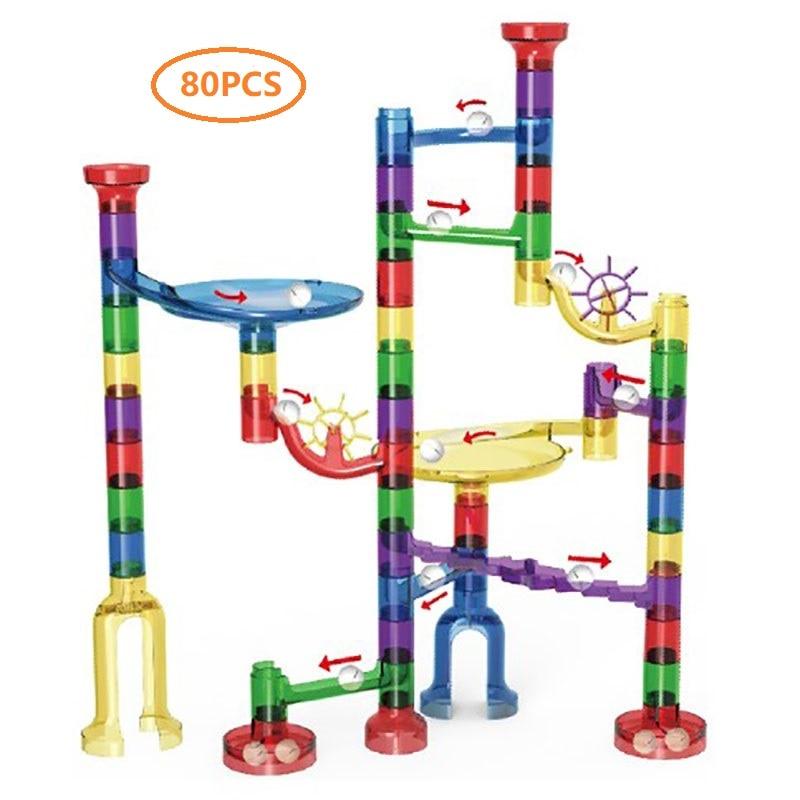 80PCS Marble Race Run Building Blocks Maze Balls Track Construction Educational Toy For Children Gift Run Maze Balls Blocks Set