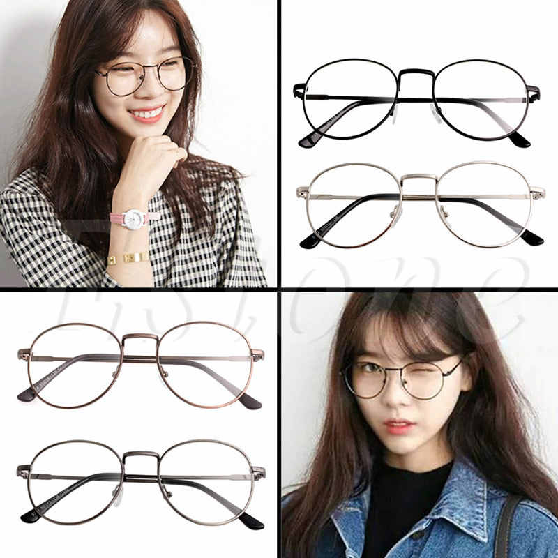 6c9d1d58e2 ... 2017 Unisex Fashion Women Girls Thin Metal Spectacle Frame Eyeglasses  Clear Lens Glasses New ...