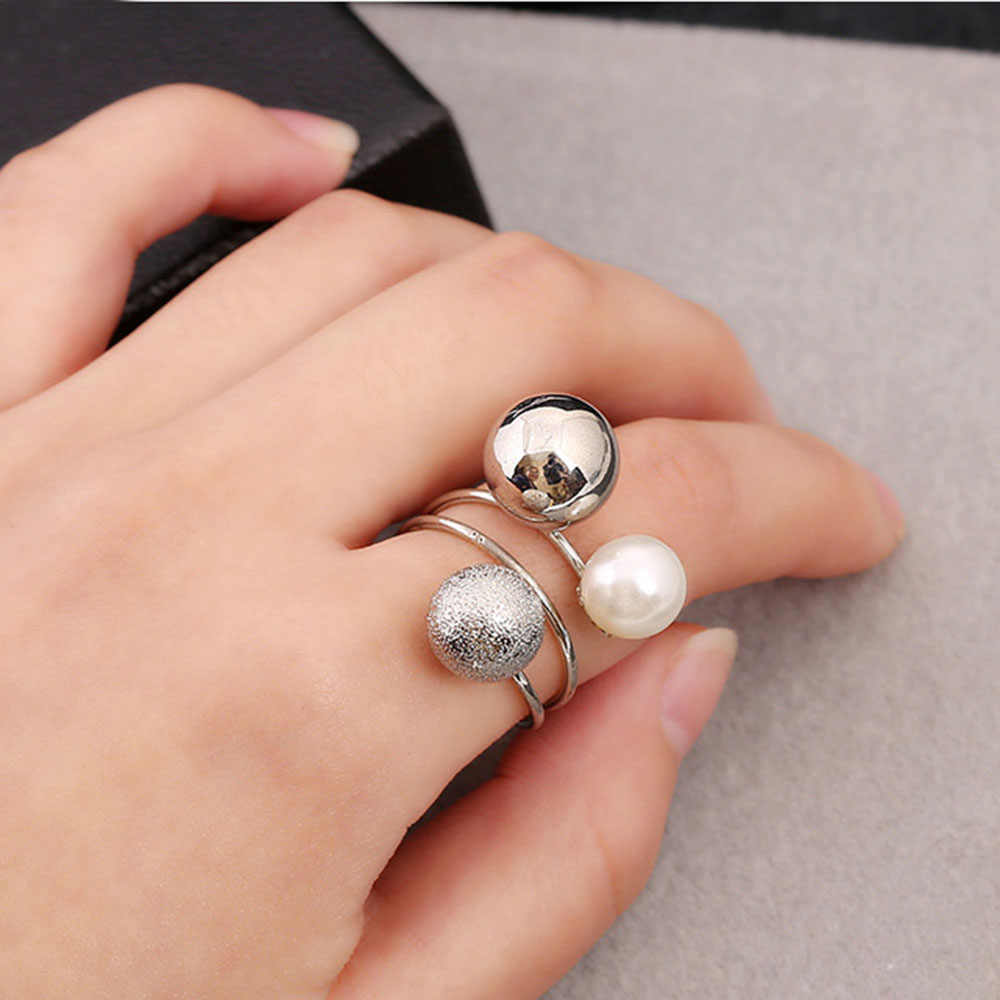 New Fashion Elegant Women Lovely Girls Simulated Pearl Adjustable Opening Rings with Metal Geometric Balls