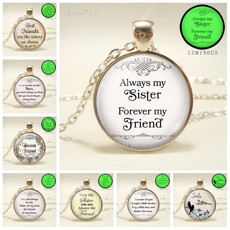 Always My Sister, Forever My Friend Necklace, Sister, Best Friends Glass Pendant Friendship Gift Women Glow In The Dark Necklace image
