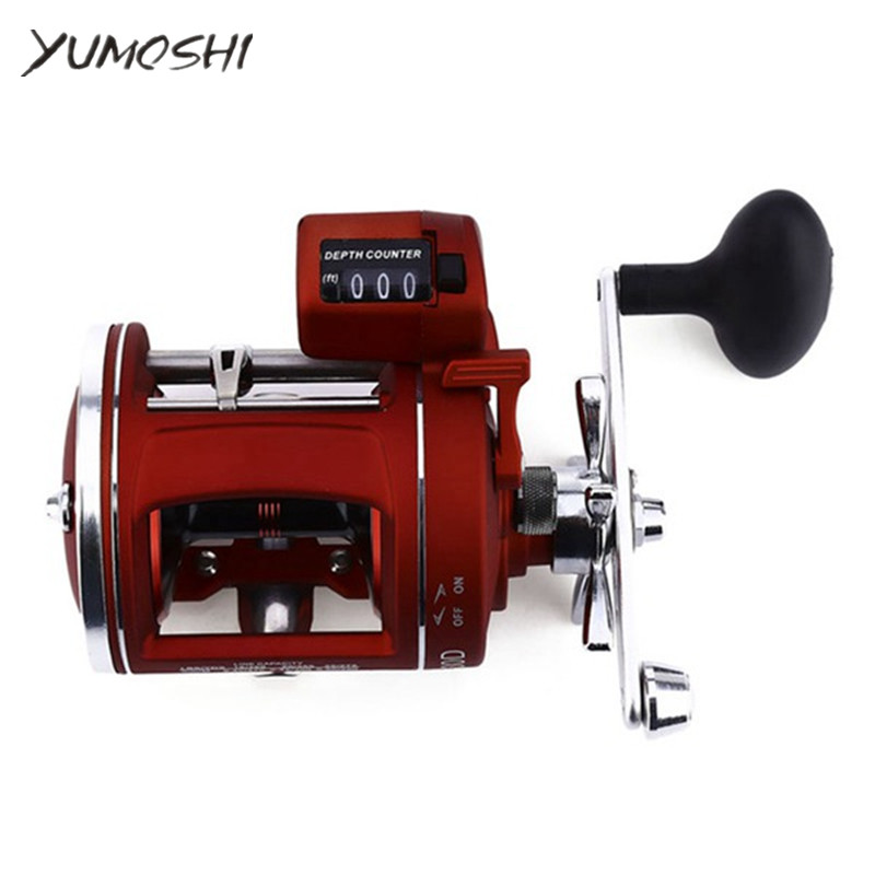 YUMOSHI 12Ball Bearings High Speed Fishing Reel Left Right Trolling Cast Drum Wheel with Electric Depth