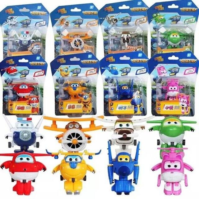 8PCS Set Super Wings Mini Airplane ABS Robot font b toys b font font b Action