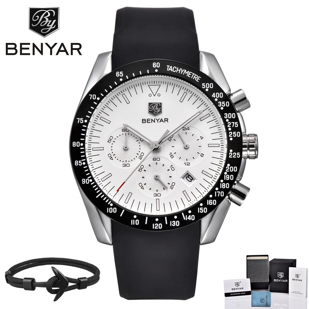 BENYAR Top Brand Luxury Men Watch Silicone Waterproof Sports Quartz Chronograph Military Watches Men Clock Relogio Masculino все цены