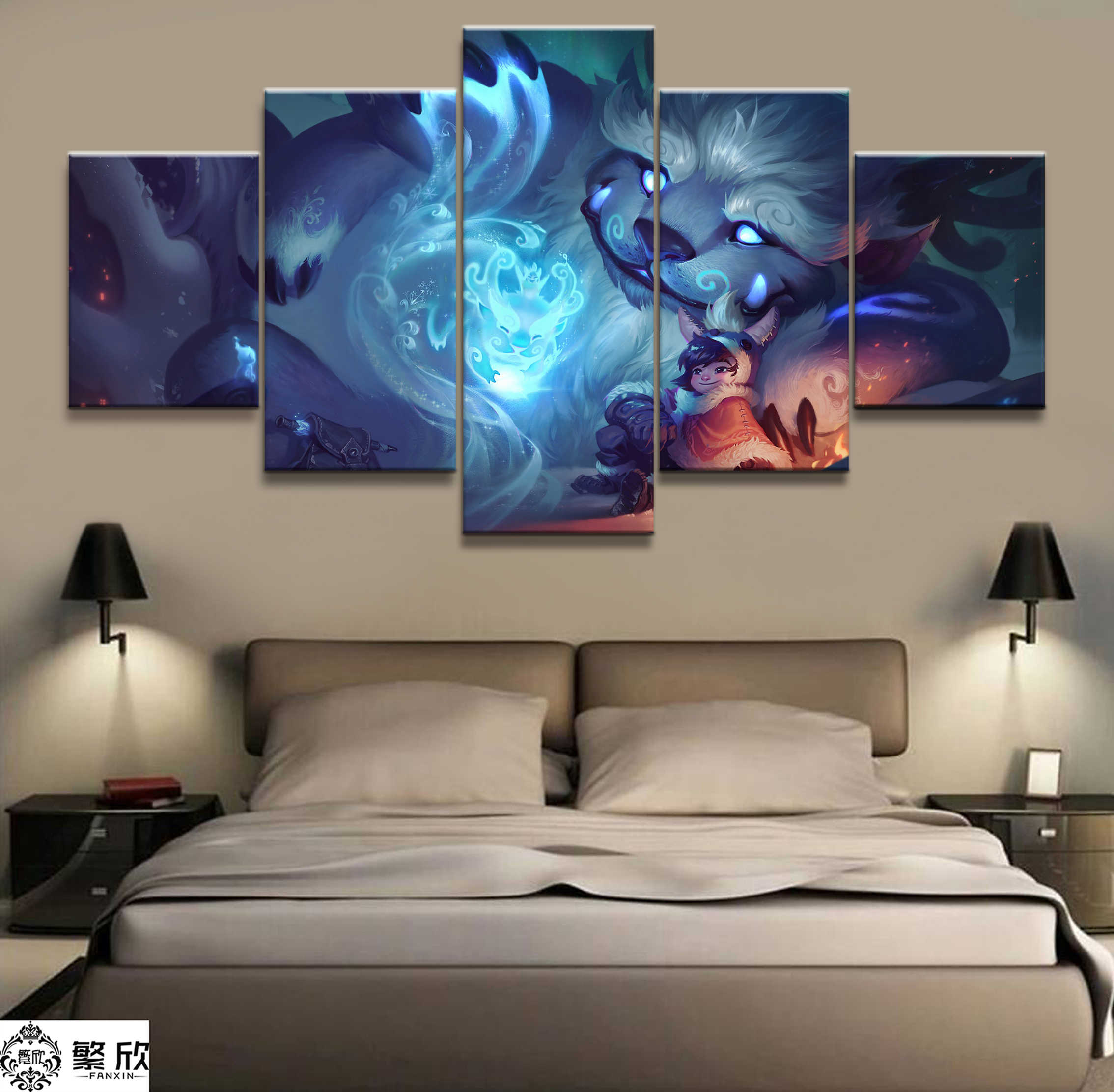 5 Panel LOL League of Legends NUNU Game Canvas Printed Painting For Living Room Wall Art Decor HD Picture Artworks Poster