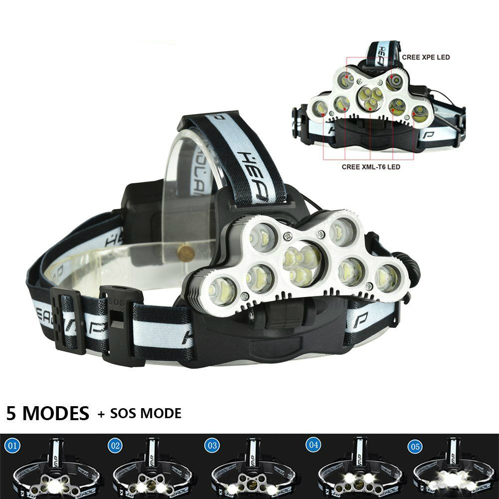 NEW 15000Lm T6 Led Headlamp USB Rechargeable Headlight Head Lamp Light 6 Modes Use 18650 Battery Camping Lantern Fishing Hunting maimu 8000lm usb power led headlamp cree xml t6 3 modes rechargeable headlight head lamp torch for hunting 18650 head light d14