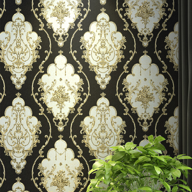 Red Blue Black Gold Victorian Clic European Fl Damask Wallpaper Stereo Vinyl Wall