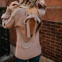 Autumn New  Womens Solid Sweaters Fashion Bow Hollow Out Clothes Casual Lentern Sleeve Knitwear Pullover For Female 2019