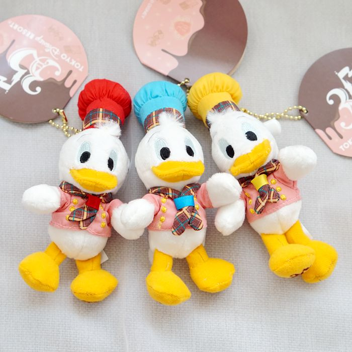 Plush Keychains Lovely 14cm Donald Duck Chef Series Anime Plush Dolls Ornament Doll Chain Pendant Lovely Cartoon Toys X Mas Birthday Gifts New Demand Exceeding Supply Stuffed Animals & Plush