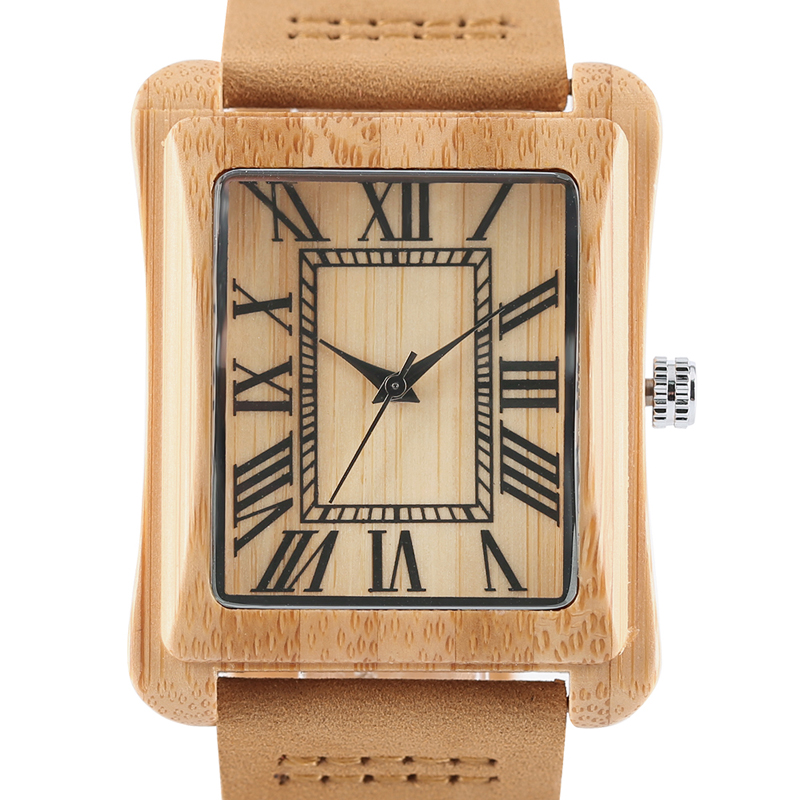 Wood Watches Clock Numbers Square Dial Bamboo Mens Quartz Roman Creative Unique Genuine-Leather