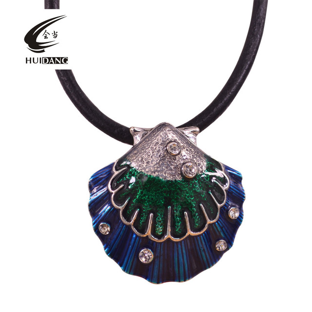 scallop austrian shape dp jewelry crystal color jewellery necklace female gorgeous blue pendant ocean amazon deluxe com