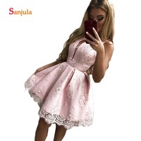 Knee Length Girls Graduation Dress Gowns 219 Pink Satin Lace Appliques Cute Homecoming Dress A Line Puffy Skit Junior Dress D860