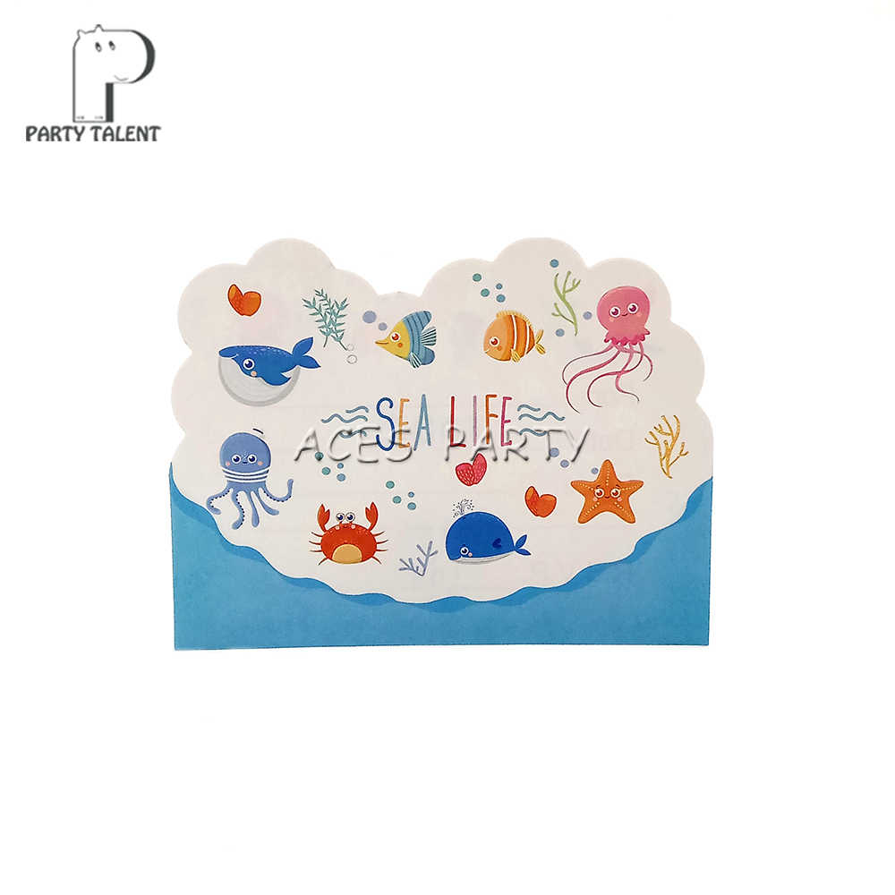 Party Supplies 8pcs Seaworld Marine Animals Sea Life Theme Invitation Card Invitations For Kids Birthday