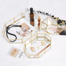 Yfashion Nordic Vintage bronze strip inlaid glass tray jewelry earrings receptacle cake polygonal large size