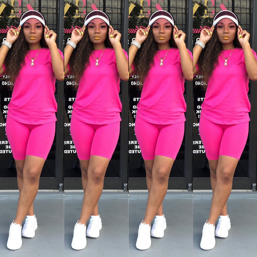 Two piece Solid Color Women 39 s Clothing Short sleeved Crew Neck T shirt and Tight fitting Shorts Simple Style Tracksuit Outfit in Women 39 s Sets from Women 39 s Clothing