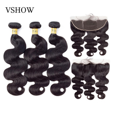 VSHOW Brazilian Body Wave Human Hair Weave Bundles With Frontal Closure Remy Extension 3/4
