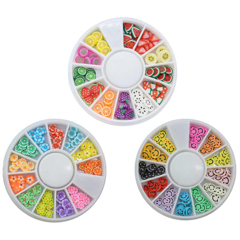 جديد ثلاثية الأبعاد مسمار الفن الديكور الملونة لطيف عجلة حبة مسمار نصائح الحلي DIY بها بنفسك مانيكير أداة