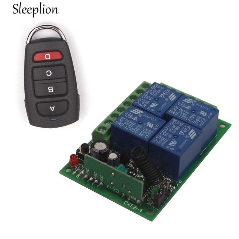 Sleeplion 24V 4CH Channel Relay Wireless Remote Control ON/OFF Switch Transmitter Receiver 315MHz 433MHz big promotion 2keys 2ch 315 433mhz rf wireless remote control black transmitter without receiver on off