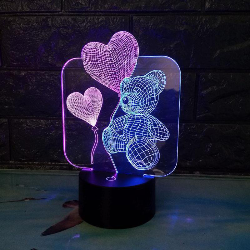 New Love Bear 3d Visual Night Light Creative novel Double discoloration Kids Lamp Led Stereo Gift 3d Light Fixtures
