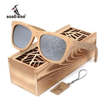 Men's Bamboo Handmade Sunglasses with Silver Polarized Lens